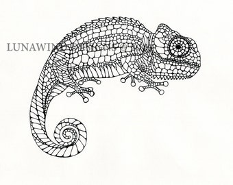 Hand Drawn Pen and Ink Chameleon Signed Print