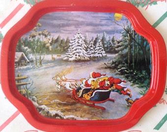 Vintage~Santa's Sleigh Ride~Metal~Tip Tray
