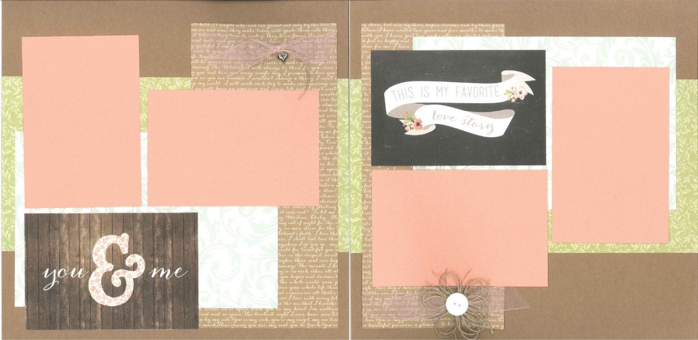 12x12 YOU AND ME Scrapbook Page Kit Premade Wedding Scrapbook 12x12 Scrapbo