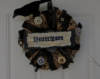 Poe's The Raven Inspired Halloween Wreath, Halloween Decor