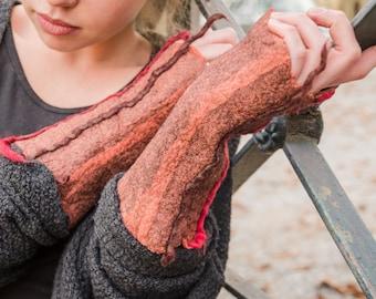 Felted wool arm warmers/fingerless gloves fingerless Gloves/Nuno Felt/felt/Eco friendly gift/Orange & Fuchsia wool