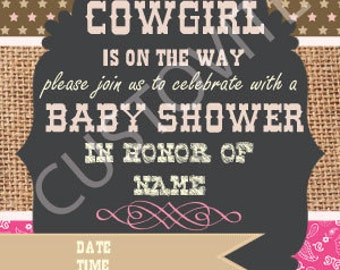 Cowgirl Baby Shower Invite
