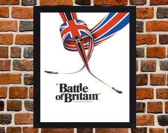 Framed Battle Of Britain War Movie / Film Poster A3 Size Mounted In Black Or White Frame