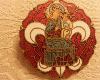 Large Religious enamel Brooch, pin, badge with red rose, Fleur de lys. Made in France