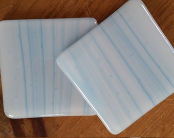 Glass Coasters: Blue Streaky (pair)