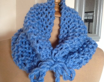 "Scarf - Cowl hand-knitted light blue ""Cornwell"" ref: S 10"