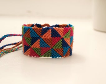 Handmade multicoloured macrame friendship Bracelet geometrical festival summer friendship