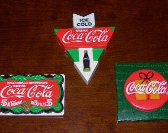 Three Vintage Coca Cola Magnets Coca Cola Memorabilia Magnets