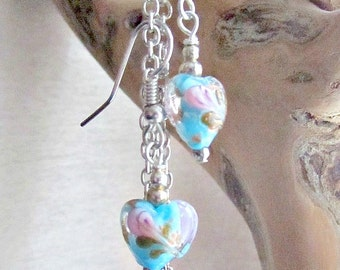 Glass heart earrings.turquoise glass heart.Valentines hearts Mothers day Gift,Birthday present