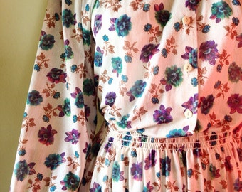 Floral print sheer fall dress large