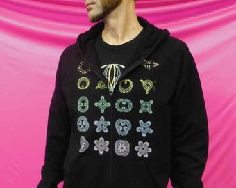Club Flowers Hoodie - 100% California Fleece Cotton - Zip-up or Pullover - One or Two Prints - Made in USA