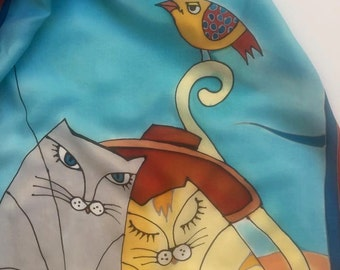 Hand Painted Silk Scarf,Cats on the Beach Silk Scarf  Long Hand Painted,Habotai Silk Scarf , 22x72 Inches.