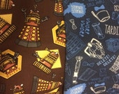 Doctor who, dalek, tardis, reversible bandana bib boy, girl, unisex, gender neutral, baby, toddler, drool