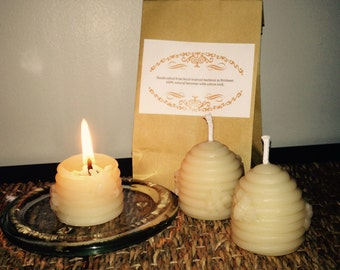 Handcrafted natural beeswax candles