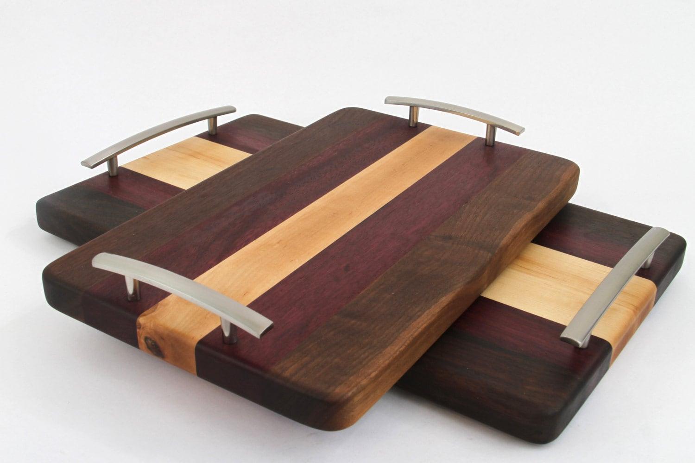 Handcrafted Wood Cutting Serving Tray Edge Grain Walnut
