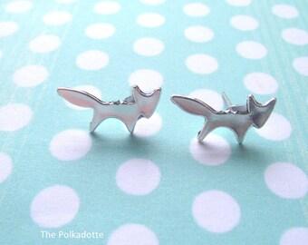 Miniature Fox Silhouette Stud Earrings Woodland Animal Folk Handmade Silver Tone Simple Dainty Studs