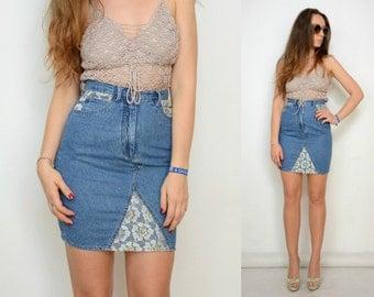 Vintage lace jeans | Etsy