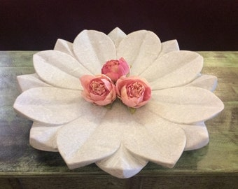 Hand Carved Marble Lotus Platter - Large