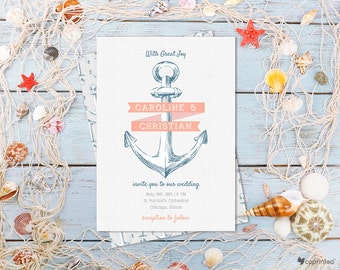 Anchored Love Wedding Invitation - modern, destination, whimsical, anchor, ribbons, cheerful, beach and nautical, seasonal, sea, template