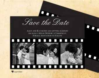 Retro Film Strip Save The Date -  traditional, classic, save the date, film, strip, photo, band, movie, camera, retro, old school, story