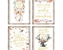 Nursery Wall Art, Nursery Decor, Set of 4,  Baby Gift, Boho Nursery Printable Art Girl Nursery Art, Baby Girl Nursery, Tribal Dreamcatcher