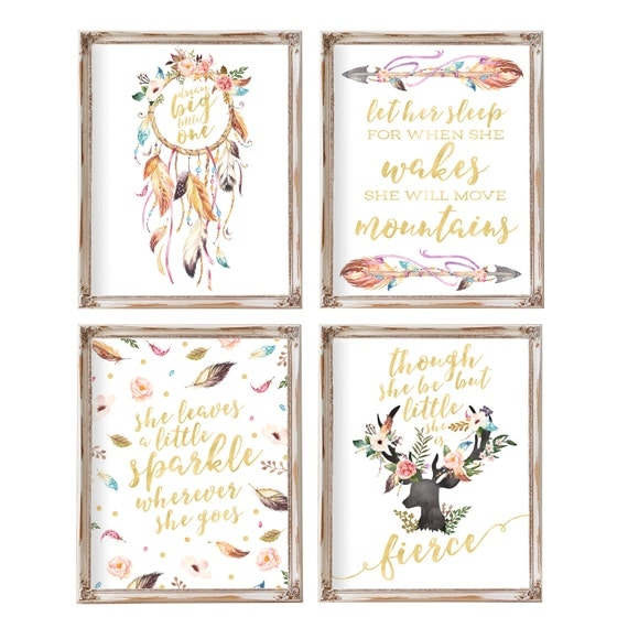 Nursery wall art nursery decor set of 4 baby gift boho for Nursery wall art