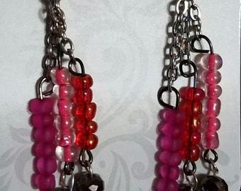 Pink silver dangle earring