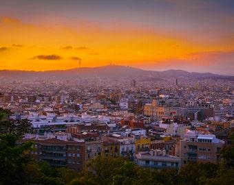 Barcelona Sunset, Travel Photography in Barcelona Spain