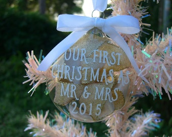Christmas Ornament,First Christmas as Mr and Mrs,Wedding Gifts,Newlywed Gifts,Personalized Date Ornaments,Gifts under 15,Gifts under 20