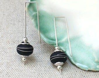 Sterling Silver and Black  Earrings, Silver Dangle Earrings, Black Earrings, Classic Black and Silver Earrings, Little Black Dress Earrings