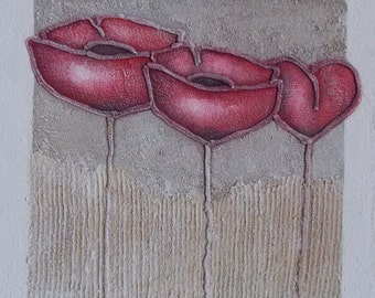 Red poppies painting sand modern