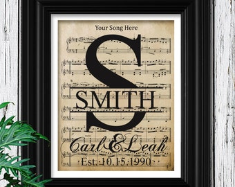 Cottage Chic Sheet Music Art | Velvet Monogrammed Gift for Bride | Personalized Wedding Song | Music Notes | Last Dance Wedding Decor | A-10