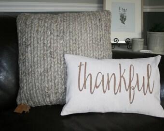Thankful Pillow, Fall Pillow, Thanksgiving pillow, Thanksgiving Decor, Cotton Canvas, Hand Painted, 12x16 Pillow, Fall Decor, Burlap Pillow