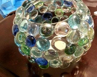 Glass Votive Holder with Accent Stones