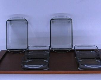 Danish Rosewood Teak & Glass Display Trays