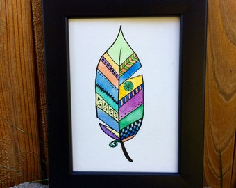 "Original Watercolor and Ink, ""Feather"" 5 by 7"