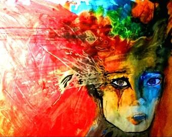 """Art print postcard from Jana Kühnle """"as he passed"""""""