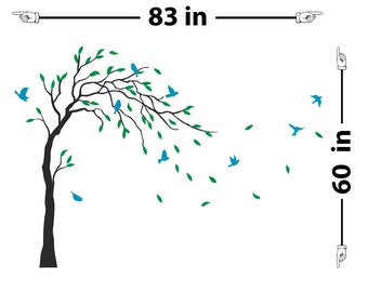 Bird Tree Blowing In The Wind Wall Decal (1759-WALL)