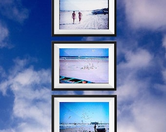 Vintage Beach Photo print set, digital download, distressed, beach décor, ocean, cottage, vintage photo, instant download