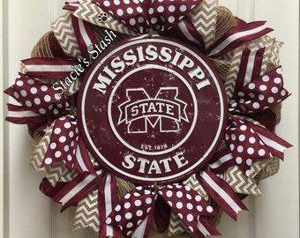 Mississippi State Wreath, MSU Bulldogs, College Decor, Mississippi State, Mississippi State Decor, Hail State, MSU Wreath, MSU Door Wreath