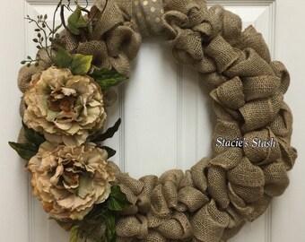 Burlap Wreath, Rustic Wreath, Shabby Chic Wreath, Front Door Wreath, Neutral All Year Wreath