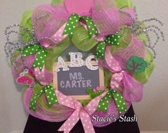 Teacher Wreath, Classroom Wreath, Mesh Wreath, Teacher Gifts, AKA Teacher