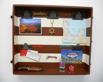 Hanging Vacation Picture & Travel Photo or Souvenir Shelf Display - Repurposed vintage wooden suitcase