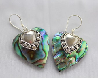 Valentines day sterling silver abalone shell heart shaped earrings