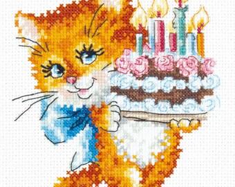 Cross Stitch Kit Happy birthday (cat)