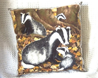 Family of Badgers In the badger Wood cushion