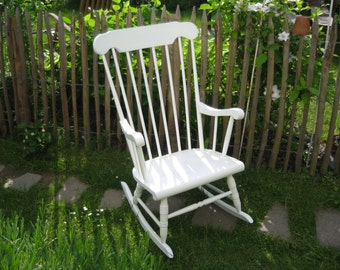 old rocking chair, white, shabby chic, vintage rocking chair