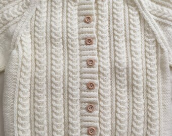 Childs Hand Knitted Aran Cardigan