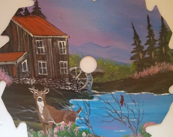 Painted Circle Saw : Old Mill With Deer and Red Bird