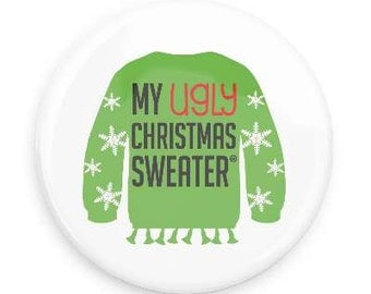 Ugly Christmas Sweater Button